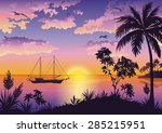 tropical landscape  sunset sea  ... | Shutterstock .eps vector #285215951