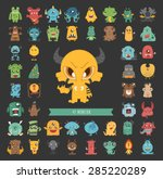 set of monster characters poses ... | Shutterstock .eps vector #285220289