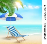 beach with palm clouds sun... | Shutterstock .eps vector #285236075