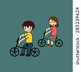 family cycling | Shutterstock .eps vector #285239624