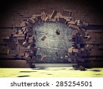 explosion of brick 3d wall | Shutterstock . vector #285254501