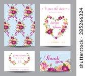 invitation or greeting card set ... | Shutterstock .eps vector #285266324