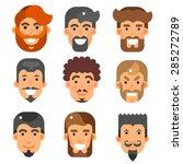 vector flat bearded male heads... | Shutterstock .eps vector #285272789