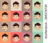 emotional heads flat icons set | Shutterstock .eps vector #285276734