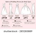 set of wedding dress styles for ... | Shutterstock .eps vector #285283889