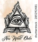 all seeing eye pyramid symbol.... | Shutterstock .eps vector #285292481