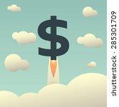 dollar rising as a rocket....   Shutterstock .eps vector #285301709