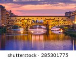 River Arno And Famous Bridge...