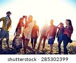 diverse beach summer friends... | Shutterstock . vector #285302399