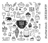hand drawn tea time collection  ... | Shutterstock .eps vector #285306959