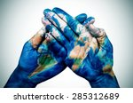 the hands of a young man put... | Shutterstock . vector #285312689