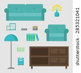 Living Room Isolated Icons Set...