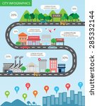 city infographics background... | Shutterstock .eps vector #285332144