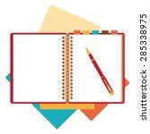 flat design notepad  paper... | Shutterstock .eps vector #285338975
