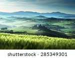 early spring morning in tuscany ... | Shutterstock . vector #285349301