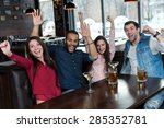 great beer party in a pub.... | Shutterstock . vector #285352781