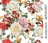 seamless floral pattern with... | Shutterstock . vector #285353507