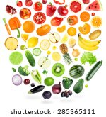 collection of fruits and... | Shutterstock . vector #285365111