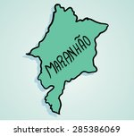 map drawing of brazilian state... | Shutterstock .eps vector #285386069