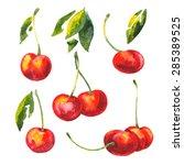 vector set watercolor drawing... | Shutterstock .eps vector #285389525