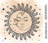 sun and moon. vector...