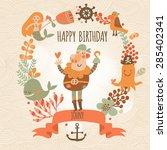 lovely happy birthday card in... | Shutterstock .eps vector #285402341