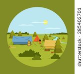 Vector Image Of Camping On...