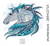 patterned head of the horse on... | Shutterstock .eps vector #285412715