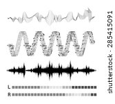 vector sound waves set on white ... | Shutterstock .eps vector #285415091