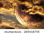 Small photo of Sunset in alien planet. Elements of this image furnished by NASA
