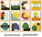 set of 12 creative unique... | Shutterstock .eps vector #285430394