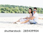 romantic young couple in love... | Shutterstock . vector #285439904