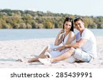 romantic young couple in love... | Shutterstock . vector #285439991