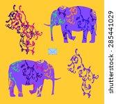 envelope with elephants | Shutterstock .eps vector #285441029