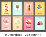 set of brochures with sweets.... | Shutterstock .eps vector #285458444