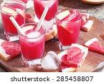 pink grapefruit drink with pulp ... | Shutterstock . vector #285458807