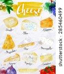 poster cheese watercolor  gouda ...   Shutterstock .eps vector #285460499
