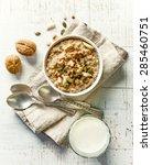 bowl of breakfast porridge with ... | Shutterstock . vector #285460751