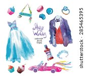 watercolor vector wedding set   Shutterstock .eps vector #285465395