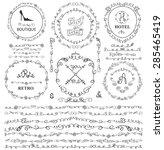 doodles seamless border frame... | Shutterstock .eps vector #285465419