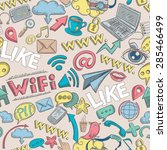 social media seamless pattern... | Shutterstock .eps vector #285466499