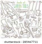 garden tools doodle set.... | Shutterstock .eps vector #285467711