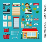 supermarket icons. store and... | Shutterstock .eps vector #285470981