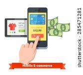 online shopping and mobile... | Shutterstock .eps vector #285471281