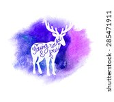 conceptual deer silhouette with ... | Shutterstock .eps vector #285471911