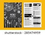 cafe menu restaurant brochure.... | Shutterstock .eps vector #285474959