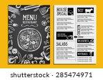 cafe menu restaurant brochure.... | Shutterstock .eps vector #285474971