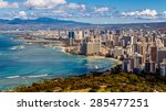 view of waikiki beach and... | Shutterstock . vector #285477251