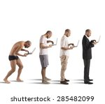 evolution from hunched man to... | Shutterstock . vector #285482099