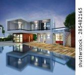 project of a luxury villa in 3d   Shutterstock . vector #285482165